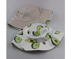 WAZHX Cappello Autunnale E Invernale Cappello da Pescatore con Stampa Frutta Cappello da Donna Parasole da Esterno Pieghevole Cappello Doppio Lavabo M(56-58Cm) Bianco