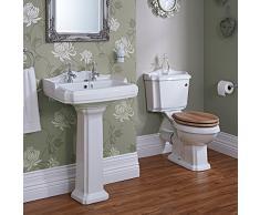 Hudson Reed - Set Bagno Tradizionale Completo con Lavabo a Colonna e Sanitario WC con Vaso, Cassetta e Sedile (Ceramica Bianca, Design Retrò)