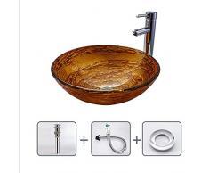 GongDi Lavabi Bacino lavandino Bagno in Vetro temperato lavabo Rotondo Arte Bacino Hotel Appartamento Bagno lavabo 42 * 14
