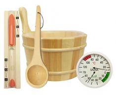 Sauna Set accessori 5pezzi-Secchiello per sauna, Mestolo per sauna clessidra Termoigrometro per sauna accessori