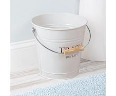mDesign Cestino carta e secchio spazzatura - Cestino ufficio, bagno, cucina, camera - Capacità: 12,5 l - Materiale: metallo con manico in legno - Colore: bianco - Stile rustico e vintage