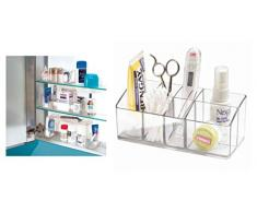 iDesign Armadietto medicinali per bagno, Contenitore medicine piccolo a 7 scomparti, Organizer medicinali in plastica facile da lavare, trasparente