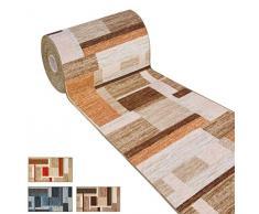 ARREDIAMOINSIEME-nelweb Tappeto Cucina Tessitura Piatta Retro Antiscivolo Moderno Quadri Multiuso Corridoio Bagno Camera MOD.FAKIRO38 57x280 Grigio (G)