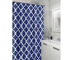 pinzz 'tessuto tessuto fodera Tende da doccia per bagno, impermeabile e antimuffa Blue