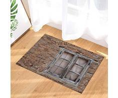 EdCott Grunge Farm Decor rustico finestra in legno sul muro mattoni depoca Tappeti bagno antiscivolo Zerbini pavimento interni porta dingresso Mat bambini vasca bagno 15.7x23.6in