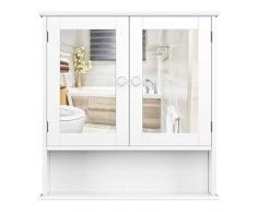 Homfa Stile Rustico Armadietto Arredo Specchio a Parete, Mobiletto in Legno da Muro, Cremagliera Scaffale Cucina/Bagno e Decoazione Salotto con Specchio 56 × 13 × 58cm Bianco