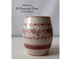 Bicchiere Portaspazzolini Linea Classica Rosa Ceramica Realizzato e Dipinto a mano da Le Ceramiche del Castello Nina Palomba Made in Italy Dimensioni H 10 x L 8,50 centimetri