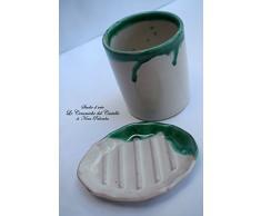 Bicchiere Portaspazzolini + Portasapone Linea Verde Ramina Ceramica Realizzato e dipinto a mano Le Ceramiche del Castello Made in Italy