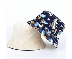 AMZOLNE Cappello Pescatore Cappello Doppio lavabo Uomo e Donna Cappello Sole Doppio Lato Soda-Blue_M (56-58cm)