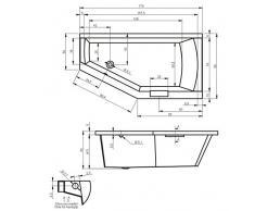 Vasca da bagno in acrilico RIHO dangolo sinistro GETA 170 x 90 cm, con manico integrato