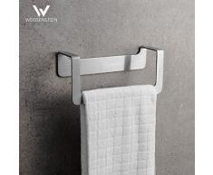 WEISSENSTEIN Porta asciugamani adesivo bagno 22 cm – Porta asciugamani da parete bagno – Porta asciugamani acciaio inox argento – Porta asciugamani bidet da muro