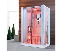 Trade-Line, doccia a vapore, 145 x 90 cm, con sauna a infrarossi + dotazione completa