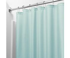 InterDesign Tenda doccia in tessuto, Tende per doccia in poliestere con orlo rinforzato, Tenda bagno lavabile con dimensioni di 183,0 cm x 183,0 cm, menta