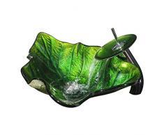 EST007 Bath Tub ZI Ling Shop- Lavabo da Bagno in Vetro temperato a Foglia Verde Fashion Lavabo da appoggio sopra lavabo da Bagno in Vetro (59x38x15.5cm) Bathtub (Color : Green)