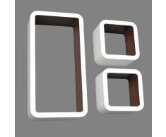Set di 3 Cubo Design Lounge scaffale libreria retrò CD DVD Mensola Bianco Marrone