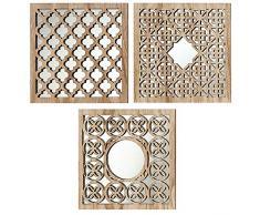 Home Collection - Arredamento, decorazione - set di 3 specchi da parete - Motivo: arabo - Stile: etnico - Colore: naturale - 30 cm