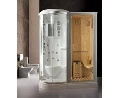 Box Doccia Idromassaggio 168x95 con Sauna Finlandese incorporata versione sinistra con Cromoterapia