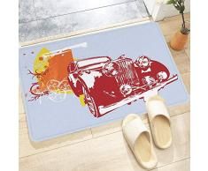 Tappetino da Bagno Antiscivolo,Automobili, collezionisti di auto depoca classiche dettagliate disegno del ve,Tappetini per Il Bagno Vasca Doccia WC Tappeto da Terra in Microfibra Assorbente 60x100 cm