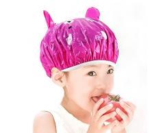 3D Cartoon animali bambini bambini bella doccia impermeabile Cap Hat Spa cuffia protezione Bouffant con flessibile elastico rosa rossa Hippo