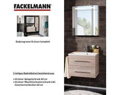 Fackelmann – Set di mobili da bagno B. Clever 2 pezzi 60 cm esche con mobiletto da bagno con lavabo in marmo e armadietto a specchio LED