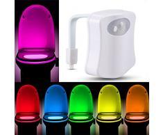 Luce Di Notte Bagno WC LED Lampada Notturne Lgienici Sensore Di Movimento Toilette Luce Di Notte Illuminazione Per Ufficio/Bagno/Armadietto/Benna Locali Toilette,Speciali a 8 Cambiamento di Colori (2 pezzi inclusi)