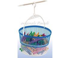 Cambia titolo in:Cestino portamollette BASKY, cestino porta mollette con mollette incluse, cestino per mollette colore bianco e blu, cesto porta mollette appendibile, cestino mollette estensibile in plastica art. 435