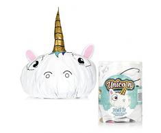 Cuffia da doccia a forma di testa di unicorno, accessorio da bagno, ideale come regalo per donne e bambini (confezione in lingua italiana non garantita)
