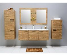Set di mobili da bagno con lavandino bagno specchio armadietto pensile mobiletto doppio lavabo in ceramica lavabo bagno set preassemblato Beige