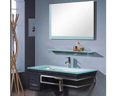 Mobile Arredo Bagno Smile cm 100 con lavabo in cristallo decentrato moderno sospeso moderno Mobili
