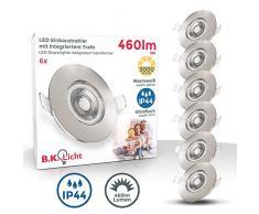 Faretti LED da incasso ultrapiatti IP44, LED integrati 5W, diametro foro 68mm, faretti per bagno ultrasottili da soffitto, luce calda 3000K, 460Lm, set da 6, rotondi, plastica color nichel opaco 230V