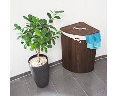 Relaxdays 10019052_93 Cesto Porta-Biancheria Bagno, Angolare, Pieghevole, 64 L, Sacco in Cotone, HxLxP 65 x 49,5 x 37 cm, Marrone