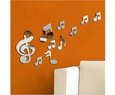 Cloud-Castle adesivi murali Art note musicali acrilico 3D specchi a parete Home Decor Decor adesivo da parete