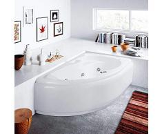 Vasca da bagno IDROMASSAGGIO con sistema Whirlpool 150x100 Made in Italy, capacità: 120 lt (VERSIONE SINISTRA SENZA RUBINETTERIA)