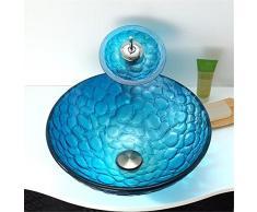 FFJTS Lavabo rotondo in vetro temperato per bagno - Sky Blue
