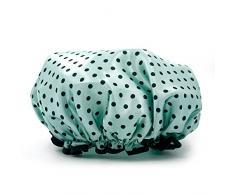 Vococal - Cappello di Doccia di Fascia Elastica Impermeabile Doppio Strato / Tappo Cuffia da Bagno Capelli EVA Polka Dot Pattern per Donne,Blu
