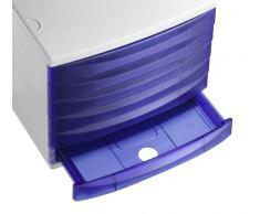 Rotho 1108006189 Cassettiera contenitore per l'ufficio Quadra in plastica (PS), 4 cassetti chiusi, formato A4, di ottima qualità, circa 37 x 28 x 25 cm, grigio/blu