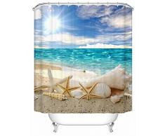 DAFENP Tende da Doccia Impermeabile Anti-Muffa Resistente Tessuto 180 x 180 cm 8 Anelli per Tende Doccia per Vasca da Bagno (style16-1)