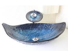 &zhou Blu lavabo foglia / lavaggio pentole bacino / mano / bacino di arte / lavandino in vetro temperato