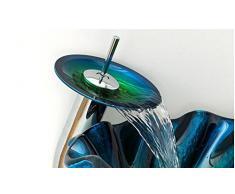 FANGYAO Vetro temperato bacino/Ocean Blue shell colore arte Lavabo Bacinella da appoggio (450 * 150 * 19mm) , basin + faucet and accessories