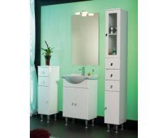 Mobile Arredo Bagno da cm 65 bianco lucido con lavabo in ceramica e specchio Mobili