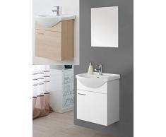 Arredo bagno sospeso a terra bianco laccato o rovere specchiera 56 lavabo ceramica mobili