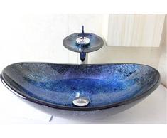 Lyn@ Vetro blu barca lavandino / lavabo ware / bacino artistico / bacino del contatore (545 * 370 * 155 * 12mm)