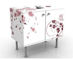 Mobile per lavabo design Apricot Blossom 60x55x35cm, basso, Larghezza: 60cm, regolabile, mobiletto da lavandino, lavandino, mobiletto da lavabo, lavabo, mobiletto, bagno, bagnetto, mobile da bagno