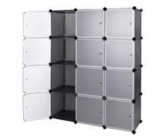 EGLEMTEK Mobile modulare Quadrato 12 Scomparti Cubo Armadio Armadietto Guardaroba Scaffale Scarpiera Mobiletto da Bagno (112 x 37 x 148 cm) (Nero)