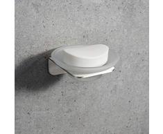 WEISSENSTEIN Porta Sapone Bagno Adesivo da Muro – Saponiera con vaschetta in Vetro – Supporto in Acciaio Inox Argento – 11,5 x 3,5 x 11 cm