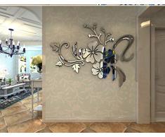 Wall Sticker Adesivi Murales Carta da Pareti ¡°Fiori Specchio¡± Decorazione Murali da Parete