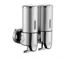 Yours Bath Dispenser Sapone Manuale Liquido a Muro Dispenser Sapone Dippio per Doccia Shampoo 500ml Dosatore Sapone Doppio Manuale per Doccia da Bagno con Chiave Sicurezza (Argento)