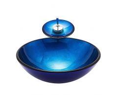 HomeLava Lavabo da Appoggio per Bagno Lavabo in Vetro Temperato Moderno Lavandino per Bagno Design Rotondo in Lamina Blu