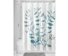 InterDesign Botanical Poly Tende per doccia in tessuto impermeabile, Tenda vasca da bagno in poliestere con motivo floreale, grigio e blu