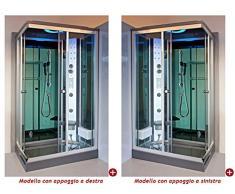 Box Cabina Idromassaggio 120x80 reversibile full optional con Cromoterapia Sauna Bagno turco Radio Sinistra